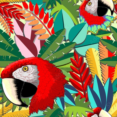 Spoed Foto op Canvas Draw Macaw Parrot Arara Paper Craft Vector Seamless Pattern Design
