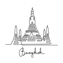 Bangkok, Wat Arun Continuous Line Vector Illustration