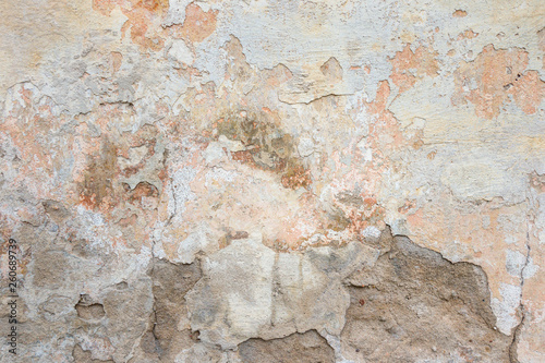 Foto auf AluDibond Alte schmutzig texturierte wand Textured grunge background. Old plastered wall with a multilayer cracked coating. Grunge texture with a deep pattern on whitewashed wall