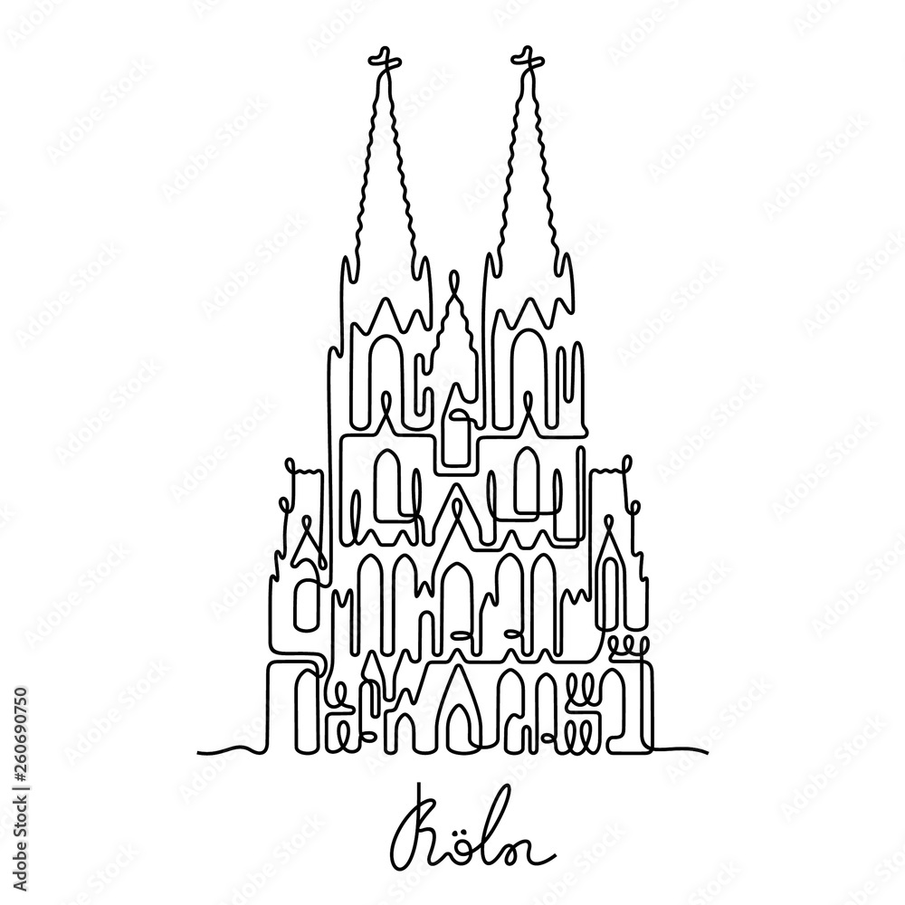 Fototapety, obrazy: Koln, The Cologne Cathedral continuous line vector illustration