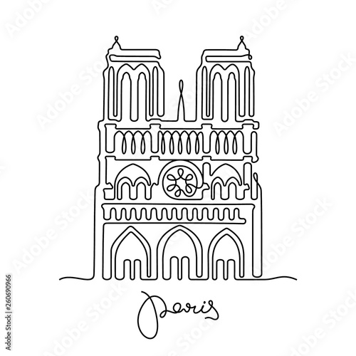 Photo Paris, Notre Dame de Paris continuous line vector illustration