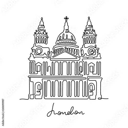 Photo London, St Paul's Cathedral continuous line vector illustration