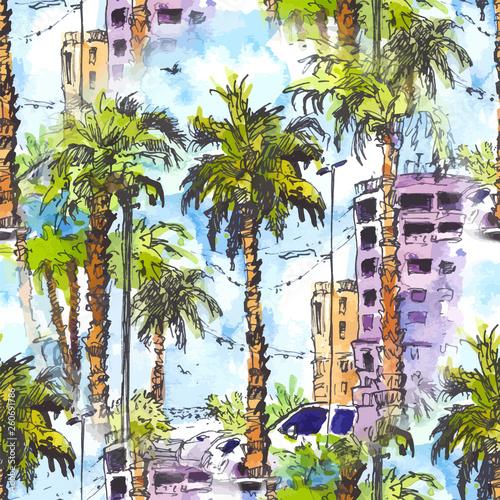 wektor-jednolite-wzor-srodmiescie-z-ulica-i-budynkami-miami-city-na-florydzie-usa-powitalny-akwarela-z-recznie-rysowane-szkic-ilu
