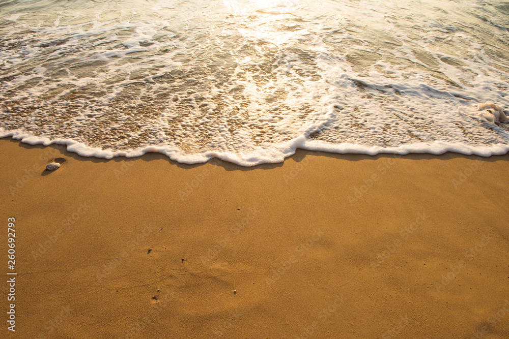 Fototapety, obrazy: Soft wave of blue ocean on sandy beach. Background.