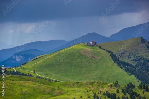 Fototapeta landscape forest in trentino with dolomiti mountain obraz na płótnie