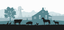 Silhouettes Of Farm Animals. Rural Landscape With Cow, Horse And Pig. Village Panorama For Poster. Farmer House And Livestock
