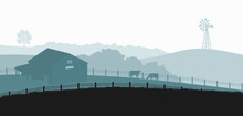 Silhouettes Of Farm Landscape. Rural Panorama Of Runch With Cow On Meadow. Village Scenery For Poster. Farmer House And Livestock
