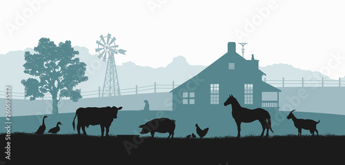 Fototapeta Silhouettes of farm animals. Rural landscape with cow, horse and pig. Village panorama for poster. Farmer house and livestock obraz