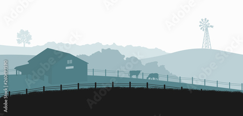Tableau sur Toile Silhouettes of farm landscape