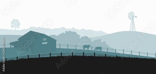 Obraz na plátne Silhouettes of farm landscape