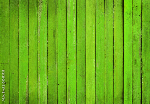 Bright green color wooden wall background, texture of bark wood with old natural pattern for design art work. #260693739