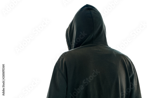 Fotografía  Rear view of hooded male person isolated onwhite background