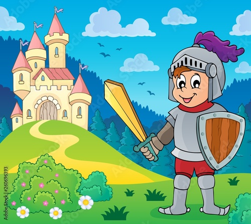 Knight near stylized castle