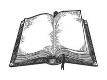 Open Book Sketch Engraving Vec...