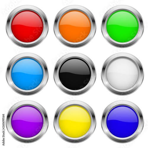 Obraz na plátně Round buttons. Glass colored icons with chrome frame