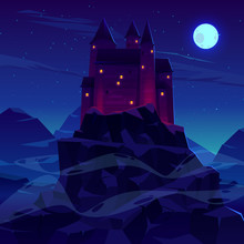 Mysterious Medieval Castle With Stone Towers Spires Illuminated Torches Fire And Glowing In Night Windows Cartoon Vector. Ancient Fortress, Dracula Vampire Shelter In Rocky Mountains Lit By Moonlight