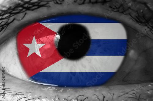 Cuba flag in the eye Canvas Print