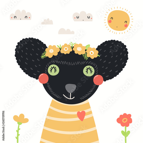 Hand drawn portrait of a cute indri in shirt and flower wreath, with sun, clouds. Vector illustration. Isolated objects on white background. Scandinavian style flat design. Concept for children print.
