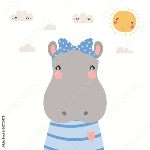 Hand drawn portrait of a cute hippo in shirt and ribbon, with sun and clouds. Vector illustration. Isolated objects on white background. Scandinavian style flat design. Concept for children print.
