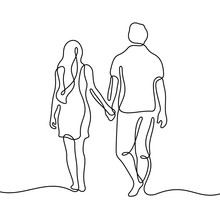 Romantic Couple Walking Together Holding Hands Continuous Line Vector Illustration