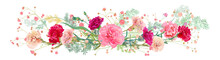 Panoramic View Of Carnation Schabaud: Pink, White, Red Flowers, Twigs Gypsophile, Asparagus, White Background, Illustration In Watercolor Style For Mother's Day, Horizontal Pattern, Vector