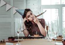 Upset Drunk Woman Celebrating Her Birthday Party Alone