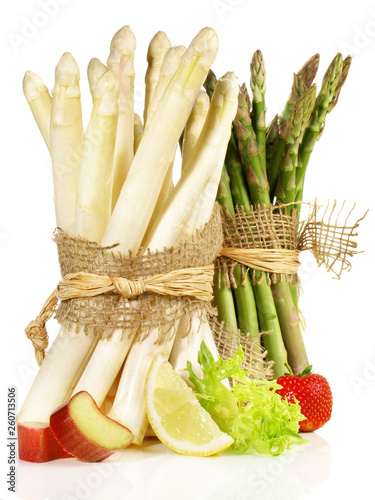 Green and White Asparagus Bundles with Strawberry and Rhubarb