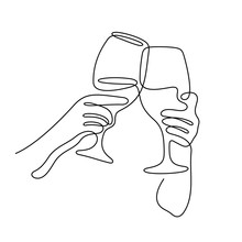 Cheering Wine Glasses Continuous Line Vector Illustration