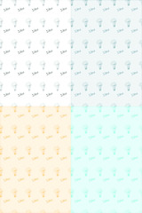 Seamless pattern with idea concept vector illustration. 4 pattern set