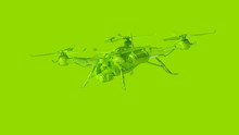 Lime Green Unmanned Aerial Vehicle Drone 3d Illustration 3d Render