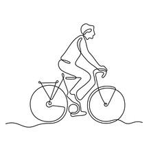 Man Riding A Bike Continuous Line Vector Illustration