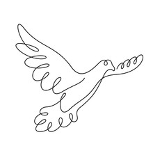 Flying Pigeon Continuous Line Vector Illustration