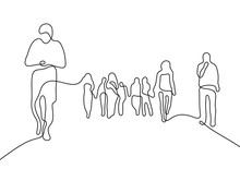 People Crowd Continuous Line Vector Illustration