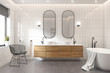Leinwanddruck Bild 3d rendering of a modern minimal white bathroom with a bathtub