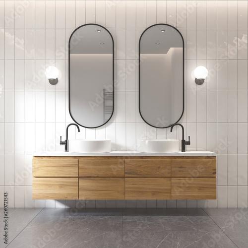 Leinwanddruck Bild - Mihalis A. : 3d rendering of a modern minimal white bathroom
