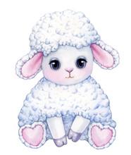 Cute,  Sitting, White Sheep Cartoon, Isolated On White.