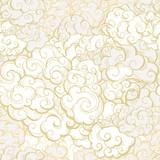 Chińskie chmury ręcznie rysowane wektor wzór. Ozdoba tekstylna w japońskim, orientalnym stylu. Złoty kontur wiruje, tło loki. Azjatyckie tradycyjne święta pocztówka tło, papier pakowy - 260727557