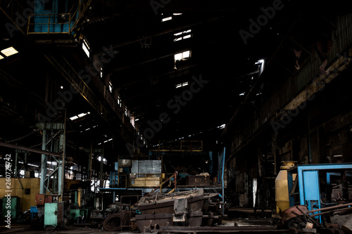 Wall Murals Khaki Old steel factory Retro photography Industrial, old factory, metal pipe, dark interior decoration of large hall for production or warehouse.soft focus.