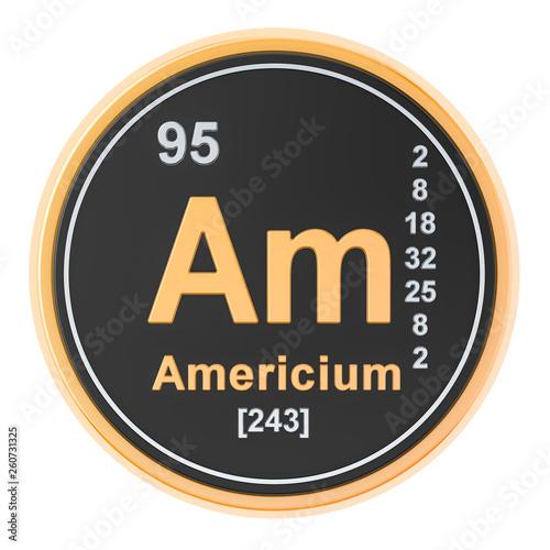 Americium Am chemical element. 3D rendering Canvas Print