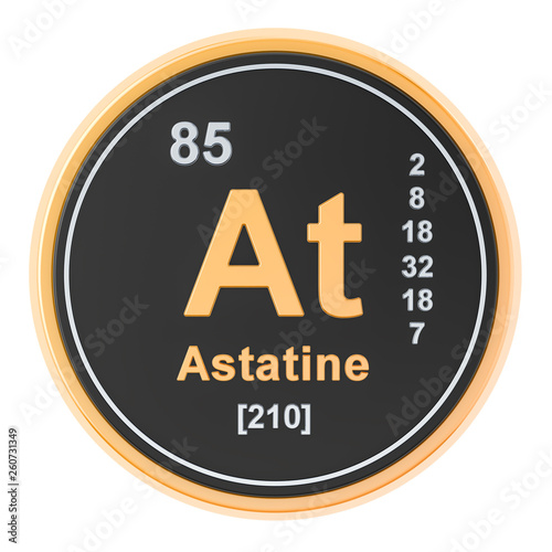 Astatine At chemical element. 3D rendering Canvas Print