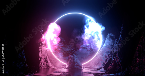 Photo sur Toile Les Textures 3d rendering illustration. Hoop or circle, Purple and red neon light amid smoke among the rocks and mountains. Neon frame for your design