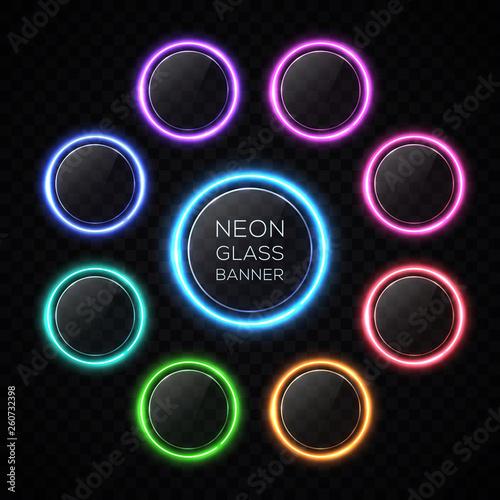 Fotografía  Color circle neon buttons set with light effect