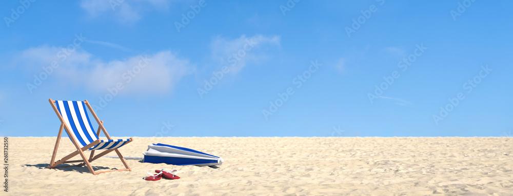 Fototapety, obrazy: Urlaub im Sommer am Strand im Liegestuhl