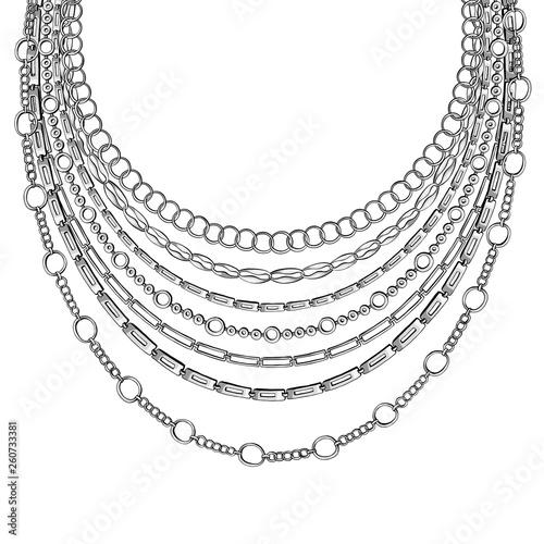 Stampa su Tela Black Outline Chain Neck Lace