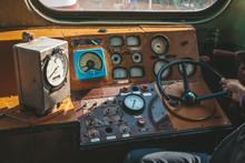 Cab In The Old Train Locomotiv...