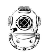 Vector Drawing Of Diving Helme...