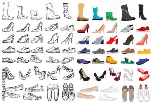 Obraz shoe set with sketch - fototapety do salonu