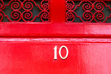 Bright Red House Door Number 10
