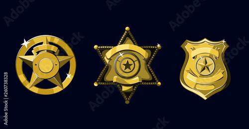Fotomural Golden Sheriff and police badges set