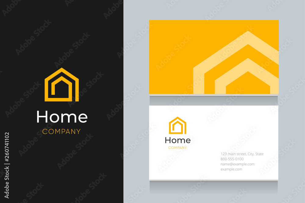 Fototapeta spiral house logo with business card template.